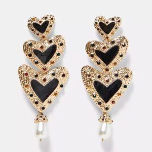 NEW Black Gold Pearl Dangle Heart Earrings